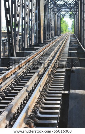 The line of old structure railway. In perspective. - stock photo