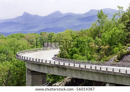 The Linn Cove Viaduct. Part of the Blue Ridge Parkway near Grandfather Mountain, North Carolina. - stock photo