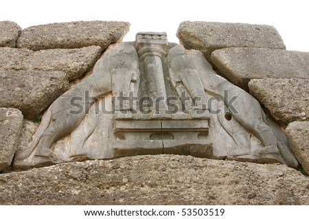 The Lion Gate in ancient Mycenae, Greece - stock photo