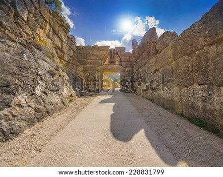The Lion Gate, main entrance to Mycenae, Greece. 13th century BC. - stock photo