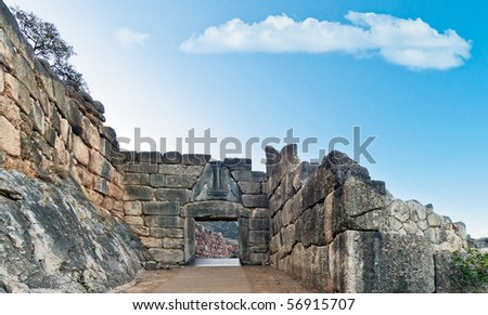 The Lion Gate, Mycenae, Greece - stock photo