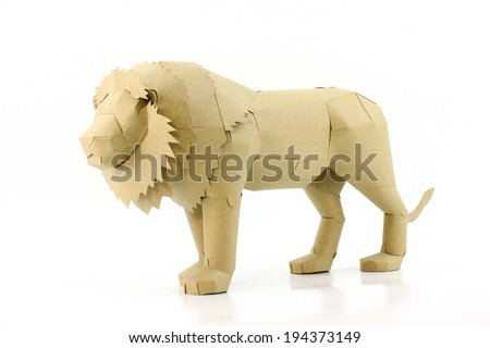 the lion made by recycled paper - stock photo