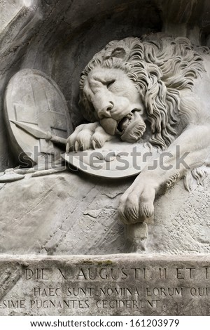 The Lion Monument, built in 1821 on sandstone, Lucerne, Switzerland