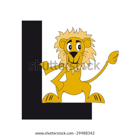 the lion with the letter l - stock photo