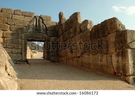 The Lions Gate of Mycenae (Greece) - stock photo