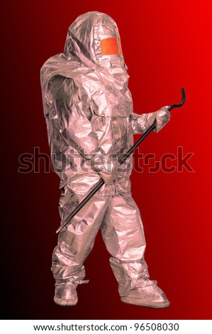 The liquidator in the Fire proximity suit with a self-contained breathing system. (Isolating contour is saved to a file)