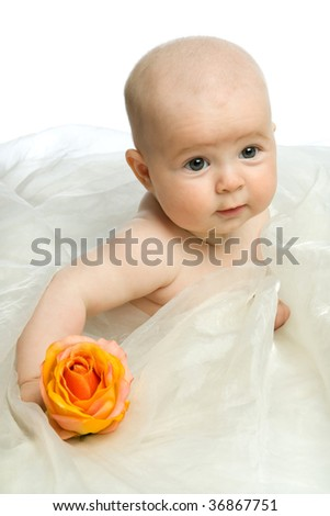 The little baby on a white background