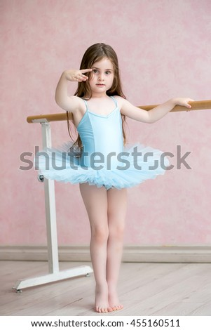 The little ballerina on occupations about the machine on tiptoe