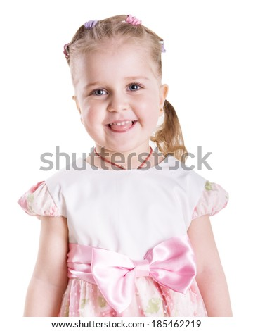 the little beautiful girl with ideal skin laughs. Isolated on a white background - stock photo