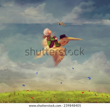 The little boy and brown pelican fly  in the sky - stock photo