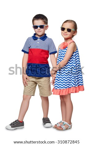 The little boy and girl spectacled isolated on white background. - stock photo
