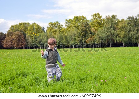 The little boy collects a bunch of flowers for Mom. - stock photo