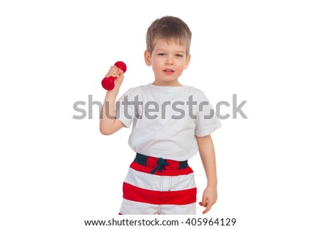 The little boy does exercises with dumbbells on a white background - stock photo
