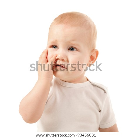 the little boy have a toothache - stock photo