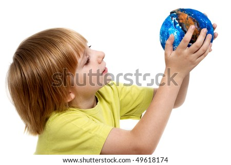 The little boy holding globe made the hands - stock photo