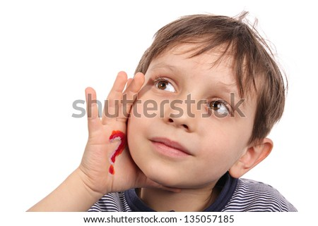 The little boy looking for answers to questions - stock photo