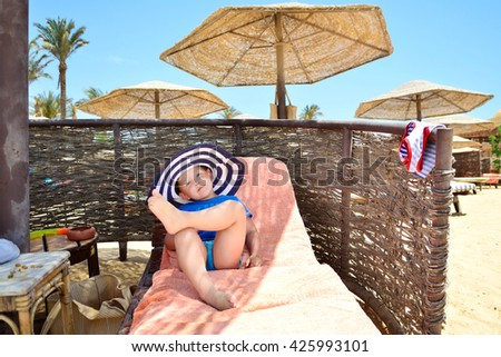 the little boy on the beach - stock photo