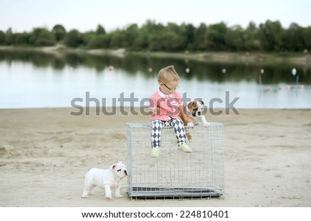 the little boy plays on the river bank with puppies - stock photo