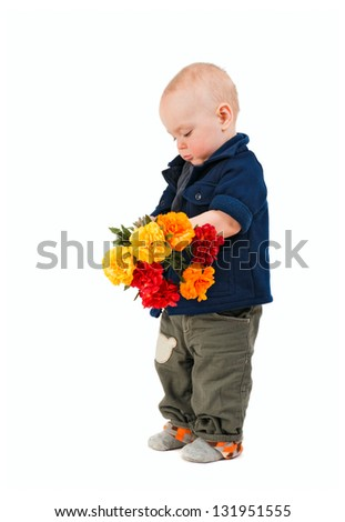 The little boy with a flowers is isolated on the white - stock photo