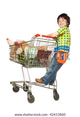 The little boy with cart for shop
