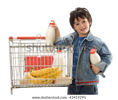 The little boy with cart for shop - stock photo