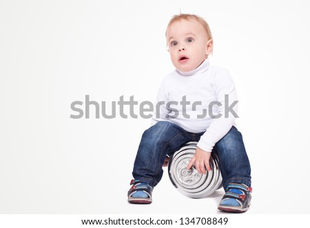 The little boy with dumbbells. On a white background. - stock photo