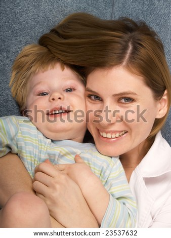 The little boy with mum of the house