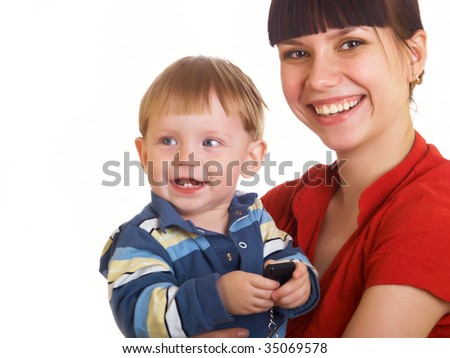 The little boy with mum on the white background - stock photo