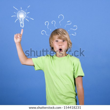 The little boy with question mark and lamp - stock photo