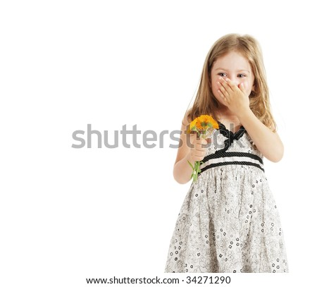 The little girl and a small bouquet of colors