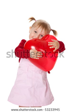 the little girl and ballon - stock photo