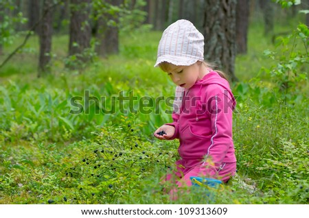 The little girl gathers bilberry in the wood - stock photo
