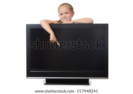 The little girl hides for lsd isolated - stock photo