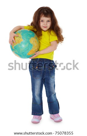 The little girl holding globe isolated on white background - stock photo