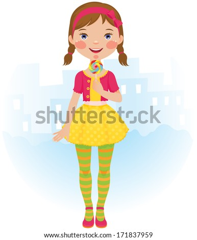 The little girl in a beautiful dress with a lollipop in his hand /Lollipop girl/Illustration of a cute little girl with a lollipop in her hand