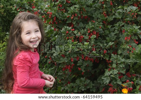The little girl in a garden on a background of bushes of a red currant - stock photo