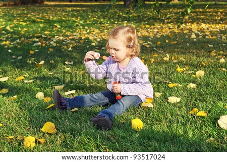 The little girl in the autumn park blow bubbles