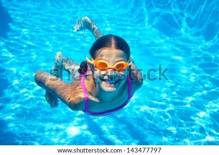 Little Girl Water Park Swimming Underwater Stock Photo ...