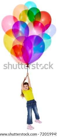 The little girl is flying on a bunch of color balloons - stock photo
