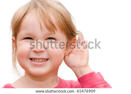 The little girl overhears isolated on a white background - stock photo