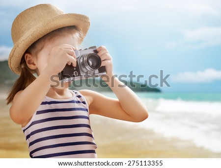the little girl wants to travel - stock photo