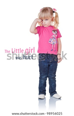 The little girl was hurt, isolated on white background - stock photo