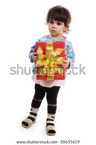 The little girl with a gift on a white background - stock photo