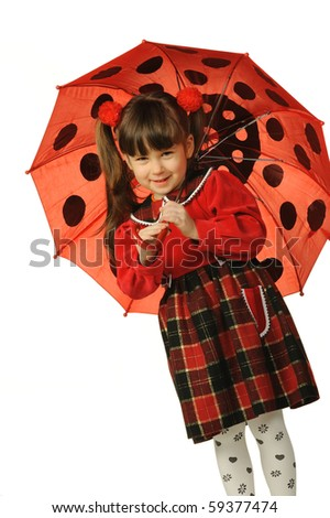 The little girl with a umbrella. It is isolated on a white background - stock photo