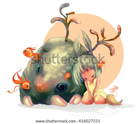 the little girl with big grey rabbit ears near the big fantasy monster with colorful deer horns surrounded by gold fishes - stock photo