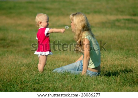 The little girl with mother on a meadow