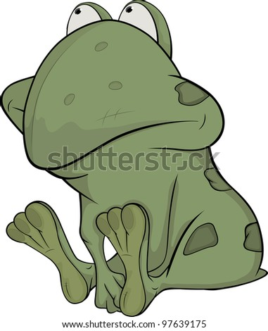 The little green toad . Cartoon