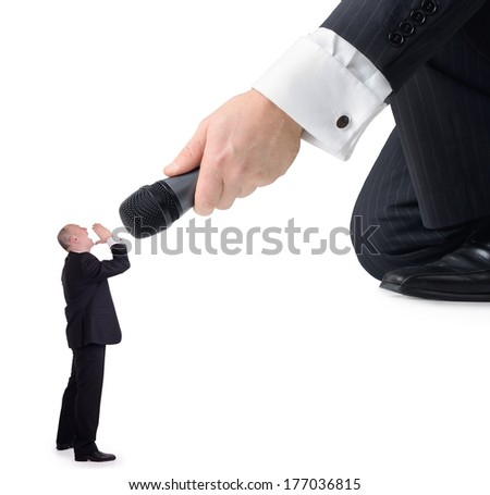 the little man having his say, isolated on a white background - stock photo