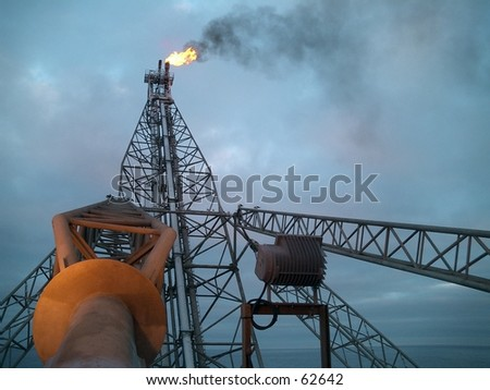 The little torque is burning on an offshore oil rig in the North Sea