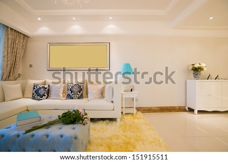 the living room with modern style - stock photo